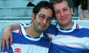 Frank Skinner giving David Baddiel a hug for having the decency to shave his goatee off