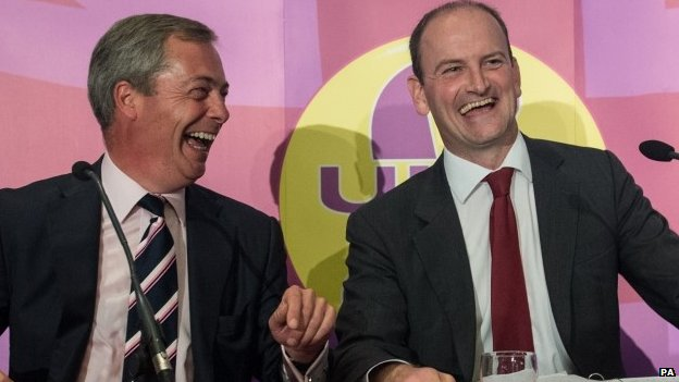 Two privately educated men whose only wish is to help the people of Clacton. Carswell and Farage share a joke.